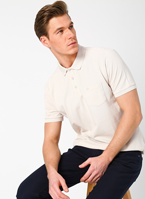 Cotton Bar Tişört Bej